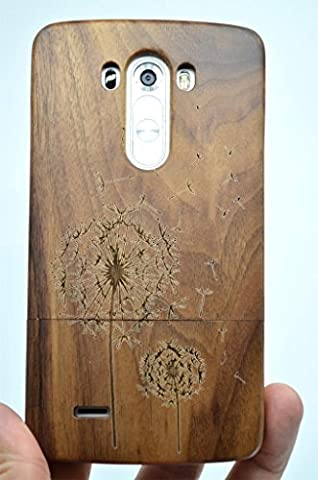 LG G3 Wood Case - Walnut Dandelion - Premium Quality Natural Wooden Case for your Smartphone and Tablet - by (Real Wood Cover For Lg G3)