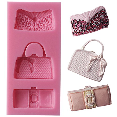 Funshowcase Designer Handbag Clutch Bags and Purses Silicone Candy Mold for Cake Decoration, Cupcake Decorate, Polymer Clay, ()