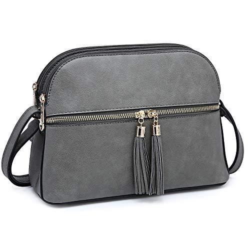 Functional Multi Pockets Lightweight Medium Crossbody Bags Purses for Women Double Zipper Shoulder Messenger Bag with Tassel (Grey) ()