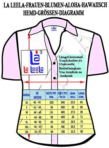 cuello con botones de la blusa de la camisa hawaiana de manga corta de las se�oras superiores las mujeres de playa azul Azul