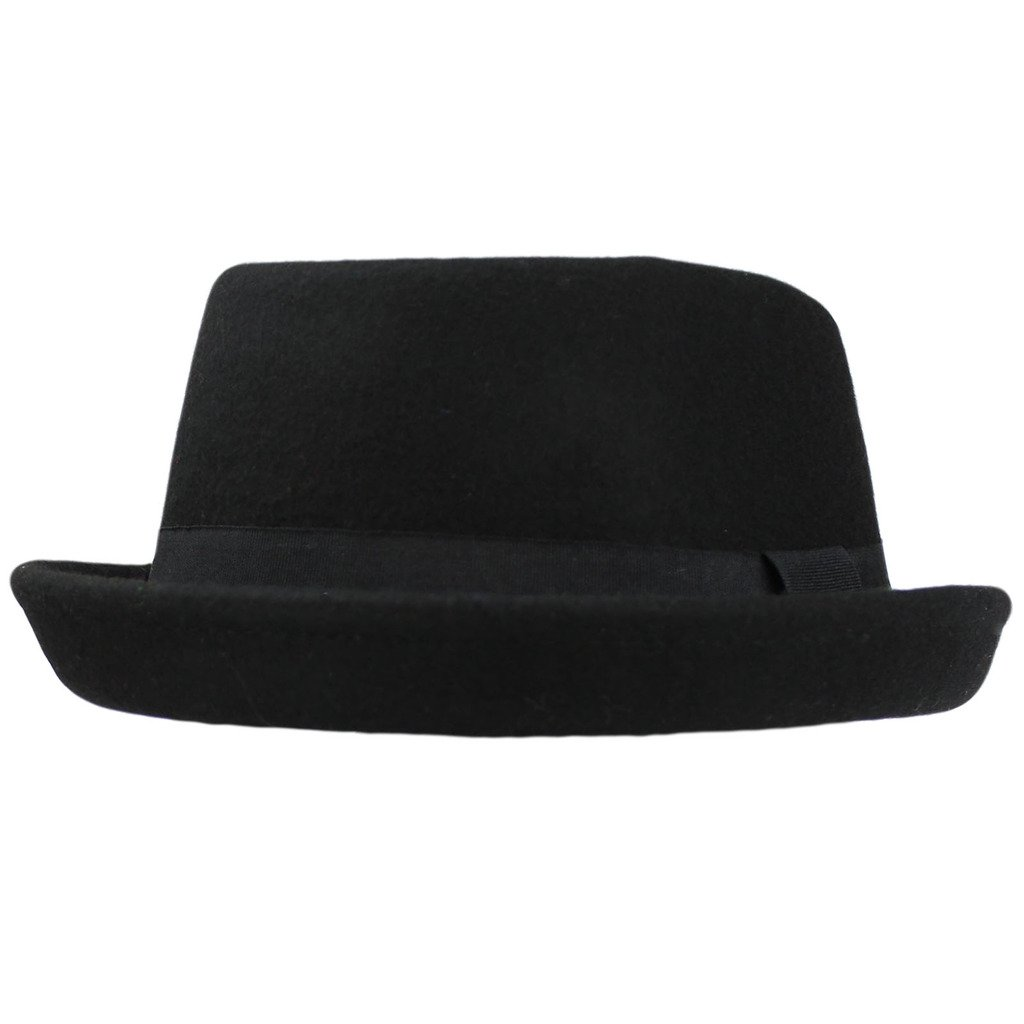 BLACK PORK PIE HAT WOOL FELT WITH GROSGRAIN BAND