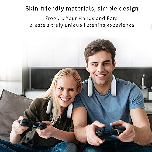 Neckband Bluetooth Speaker, Ear&Ear Wireless Over Wearable Speaker True 3D Stereo Sound, IPX4 Waterproof, Built-in Mic for Home Theater and Gaming White