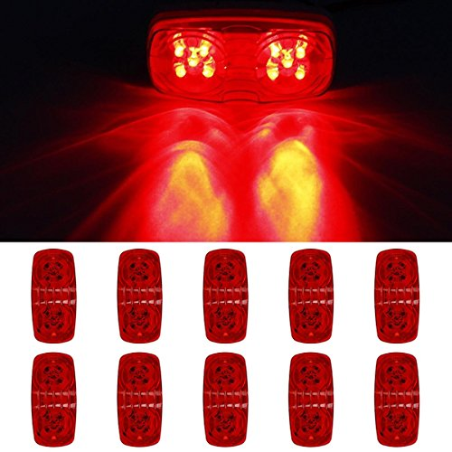 Partszone 10x Double Bubble Tiger eye Marker Light Red 4x2 Exterior Trailer Lights 10LED Bulls Tiger Eye Trailer (Tigers 4 Light)