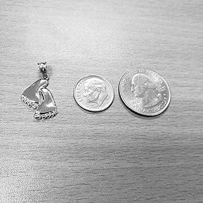LA BLINGZ 10K White Gold Baby Feet Pendant Necklace