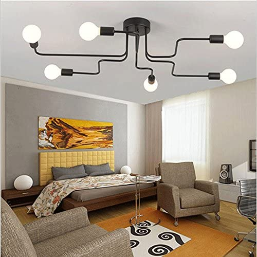 Retro Creative Metal Flush Mount 6-Light Cafe Bar Ceiling Lamp Chandelier Lighting Fixure Elitlife 6-Light