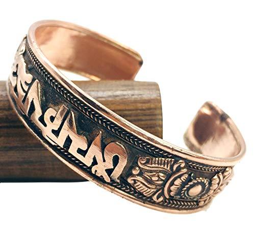 (100% Pure Copper Tibetan Healing Bracelet. Unisex, Hand Made High Gauge Copper (Mantra))