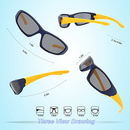 02bd1bd8531 RIVBOS Rubber Kids Polarized Sunglasses With Strap Glasses - Import It All