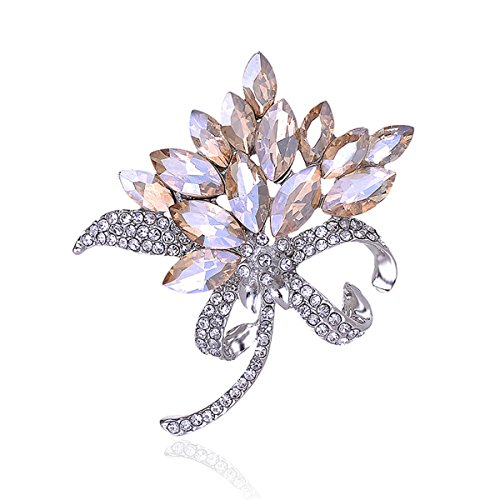 Reizteko Bridal Wedding Jewelry Orchid Flower Petal Brooch Crystal Rhinestone Pins Gift (Champagne)