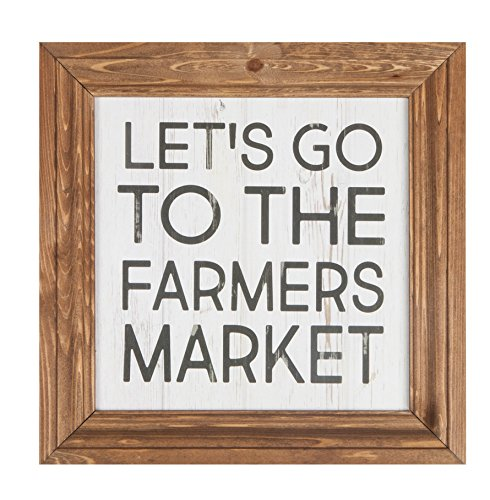 P GRAHAM DUNN Lets Go to The Farmers Market Brown 11 x 11 Wood Framed Wall Sign Plaque