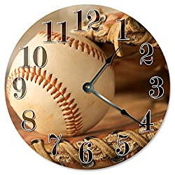 Large 10.5 Wall Clock Decorative Round Wall Clock Home Decor Novelty Clock BASEBALL GLOVE