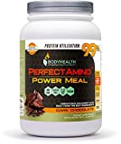 BodyHealth PerfectAmino Complete Power Meal Replacement Shake (Dark Chocolate, Container, 20 Servings) Organic Protein Powder Drink w/MCT Oil, Probiotics, Vegan, High Nutrition, Weight Loss Diet For Sale