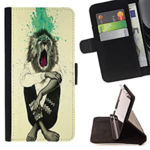 Dragon Case- Caja de la carpeta del caso en folio de cuero del tir¨®n de la cubierta protectora Shell FOR Sony Xperia Z1 C6902 C6903 C6906- Lion Funny Man