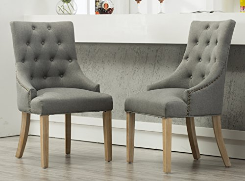 Roundhill Furniture Button Tufted Solid Wood Wingback Hostess Chairs with Nail Heads, Set of 2, Grey (Accent Fabric Chairs)