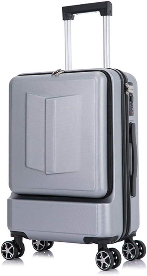 LXHK Equipaje de Mano con Compartimento para Laptop y Bolsillo con Cremallera, Trolley de Cabina con 8 Ruedas, Rígida Maleta de Viaje, ABS, Asa Telescópica de Aluminio
