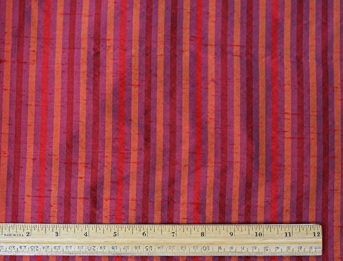 (Red & Orange & Purple Dupioni Stripes, 100% Silk Fabric, By The Yard, 54