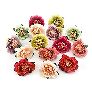 Csoudna Fake Flowers for Crafts Decoration Bulk Mini Rose Cloth Artificial Flower Heads Peony Cherry Blossoms Wedding Party Home Room Decoration Marriage Shoes Hats Silk Flower Decor 30pcs 5cm 60