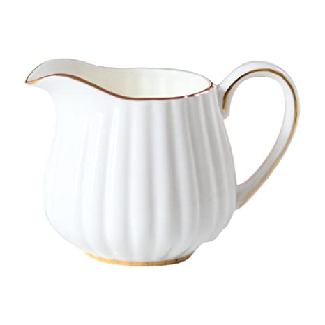 Amazon.com: Royal pequeño blanco de cerámica café jarra para ...