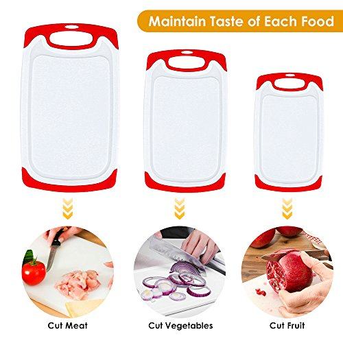 Plastic Cutting Board, 3 Packs Chopping Board with Food Grade PP Anti-Microbial and Deep Drip Juice Groove for Kitchen Tool-Red by JOSHNESE (Image #1)'
