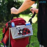 Stroller Organizer Baby Diaper Bag with Mobile Phone Holder - Universal Fit for Strollers - Includes Handy Buggy Hook for Bags - Ladybug Red