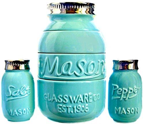 Cooking Upgrades Mason Jar Measuring Cups Salt and Pepper Shaker Kitchen Baking Set Vintage Rustic Antique Farmhouse Look and Design (Teal Blue)