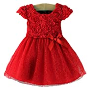 Smartlife Baby Girl Summer Red Spotted Roses Short Sleeve Dress(red) (6-12 months)