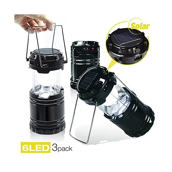 51IDkZrxT9L. SS600  - EACHPOLE |3-Pack| Outdoor Camping LED Lantern with Solar Charging Dual Power Supply Built-in Power Bank, APL1565