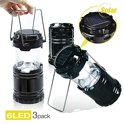51IDkZrxT9L - EACHPOLE |3-Pack| Outdoor Camping LED Lantern with Solar Charging Dual Power Supply Built-in Power Bank, APL1565