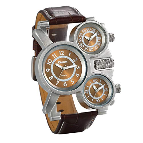 Men's Watch Steampunk Design Multi Time Zone Three Analog Dials Unique Military Big Face Comfortable Brown Leather Band Watches