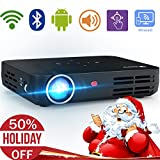 Electronics : WOWOTO H8 Video Projector DLP LED 1280x800 HD 3D Support 1080P Android System WiFi&Bluetooth Home Theater Portable Mini Cinema USB AV SD HDMI Game Multi-screen Sharing Touch Control Projectors Black