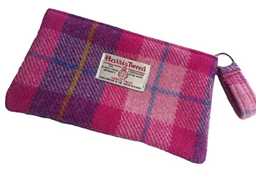 Tweed Bubble (Harris Tweed purse cosmetic toiletry make up bag in Bubble Gum Plaid)