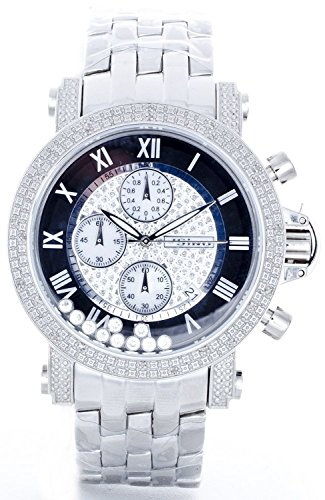 JOJINO Real Diamond Watch Mens Silver Tone Case Metal Band Black Face Chronograph MJX1080 by JoJino