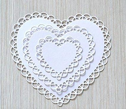Wedding Invitation Card Love Flower Cutting Dies Cut Stencils for DIY Scrapbooking Album Decorative Embossing Paper Dies Card Making 4pcs//Set Lace Heart Shape Metal Die Cuts
