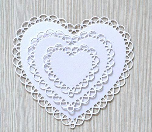 (Scallop Love Heart Stackable Scrapbooking Scrapbook Handmade DIY Craft Metal Steel Cut Cutting Die Mold Tools Book Photo Album Art Card Dies 10.7X10cm)