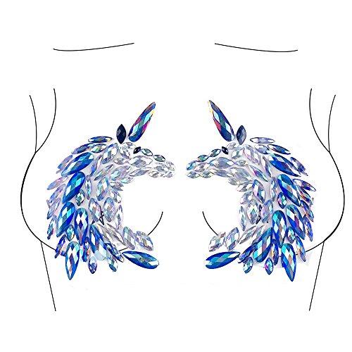 Glitter Unicorn Body Jewels Rave Festival Rhinestone Face Body Jewelry Stick On Crystal Tattoo Nipple Chest Crystal Body Gem Stones Stickers - Blue by Miss Babe