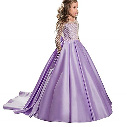 XGSD Flower Girl Dress Girls Pageant Dress Draped Pink Long Sleeves First Communion Dress Vestido da menina de -