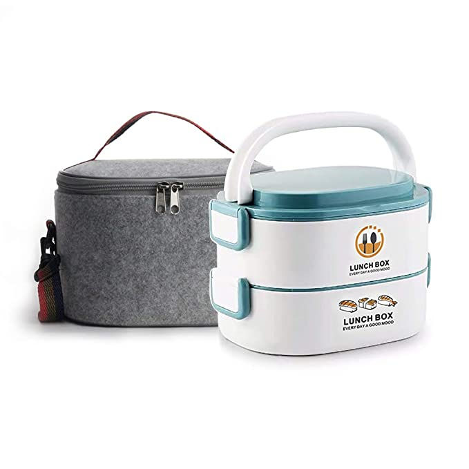 Lille Home 48oz Stackable Compartment Lunch Box|2-Tier Bento Box/Food Container with Insulated Lunch Bag |Microwavable Exterior Layer|Stainless Steel ...