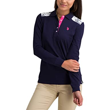 28cc0cab631 U.S. Polo Assn. Womens Solid Long Sleeve Pique Polo Shirt with Lace Trim at  Amazon Women s Clothing store