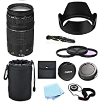 Canon 75-300mm f/4-5.6 III Lens (White Box) + SoCa 10 Accessory Bundle For T6i SL1 T5i T5 T4i T3i T3 60D 70D T2i T1i XSi XS XTi XT D-SLR Camera