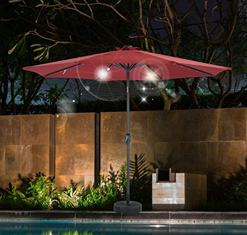 SHORFUNE Solar Powered 40 LEDs Lighted Patio Umbrella, Outdoor Umbrella with Crank and Push Button Tilt, Adaptor Included,Red For Sale