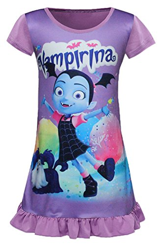 AOVCLKID Vampirina Toddler Night Gown For Little Girls Pajamas Dress (Purple,130/5-6Y)