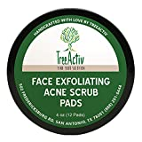 TreeActiv Face Exfoliating Acne Scrub Pads | Natural Facial Cleansing Treatment | Men Women Teens | Unscented | Honey | Dead Sea Clay and Salt | Lime Essential Oil | Glycerin | 4 oz (12 Pads)