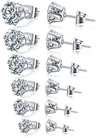 Stainless Steel Stud Earrings Hypoallergenic Cubic Zirconia (6Pairs)