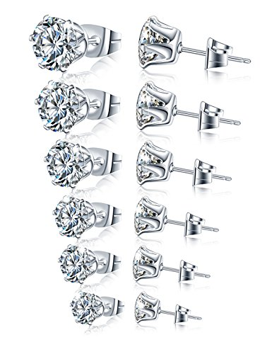 Stainless Steel Stud Earrings Hypoallergenic Cubic Zirconia (6Pairs) (Shiny Stainless Earrings Steel)