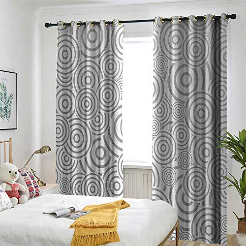 (one1love Grey Decor Custom Curtain Ring Shaped Overlapping Rotary Turning Contrast Bands Round Layers Hoops Modern Art Grommet Curtains for Bedroom 120