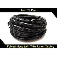 "20 FT 1/4"" INCH Split Loom Tubing Wire Conduit Hose Cover Auto Home Marine BlackMarine Black"