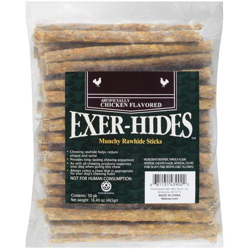 Salix Exer-hides Chicken Flavored Munchy Rawhide Sticks, 50 count (Flavored Compressed Rawhide)