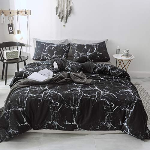 3 PCS Black Marble Duvet Cover Set, 100% Cotton Bedding Set with Corner Tie, Zipper Closure + Pillow Shams (no Comforter)