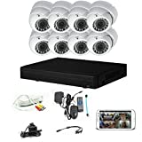 iPower Security SCCVIC0006 8 Channel HD-CVI HDCVI 1080P DVR Security Surveillance System with 8 Dome Vari-Focal Lens 2MP Cameras (White)