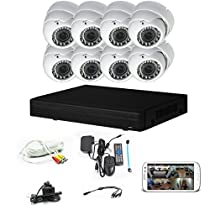 iPower Security SCCVIC0006 8 Channel HD-CVI HDCVI 1080P DVR Security Surveillance System with 8 Dome Vari-Focal Lens 2MP Cameras (White)