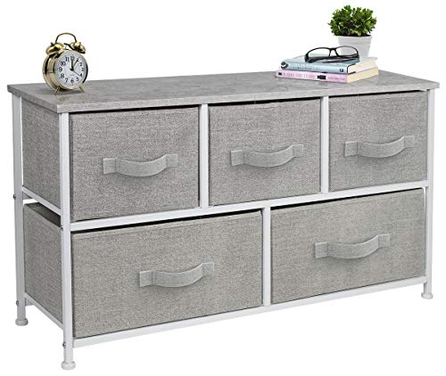 Sorbus Dresser with Drawers - Furniture Storage Tower Unit for Bedroom, Hallway, Closet, Office Organization - Steel Frame, Wood Top, Easy Pull Fabric Bins (5-Drawer, Gray) (Dressers)